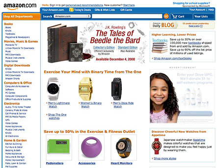 Amazon Landing Page from the Year 2008