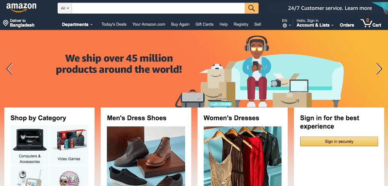 Amazon Landing Page from the Year 2019