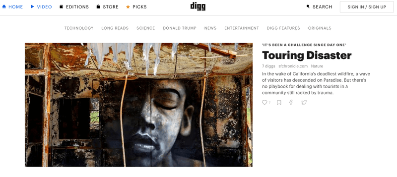 Digg.com After the Website Redesign