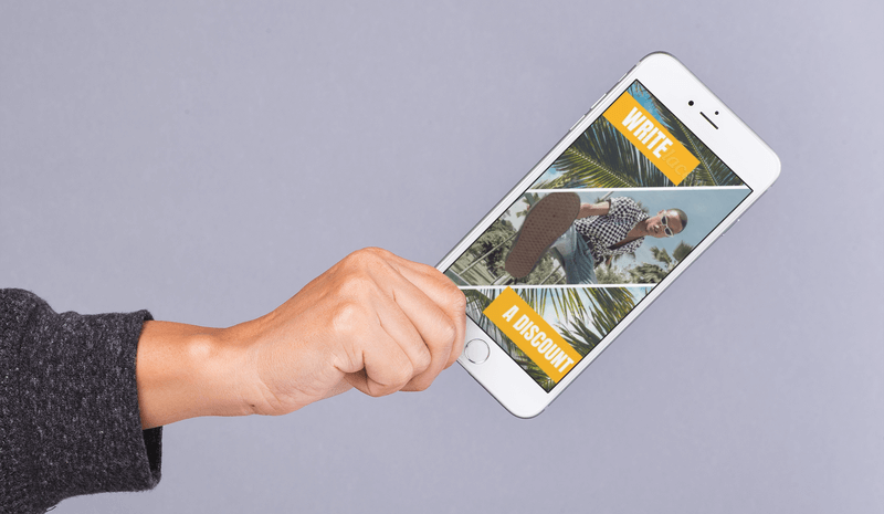 Mockup Of A Hand Holding An Iphone 8 Plus Featuring A Promotional Video