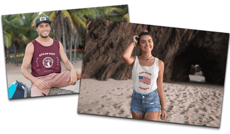 Tank Top Mockups Featuring 4th Of July T Shirt Designs