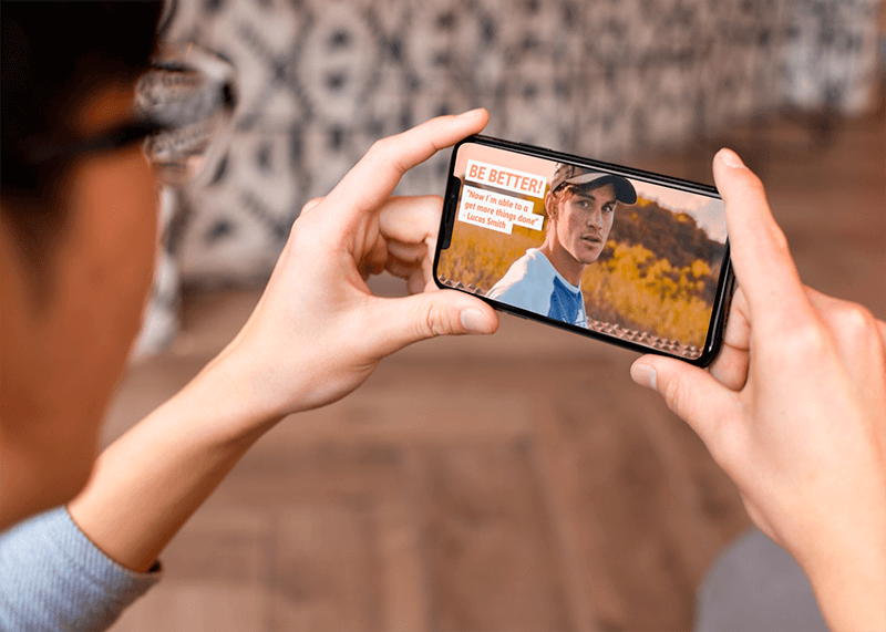 Digital Mockup Featuring A Man Watching His Iphone Xs 25533