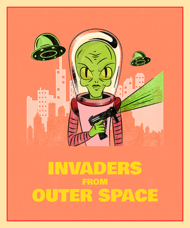 Halloween T Shirt Design Featuring Alien Invaders 1569