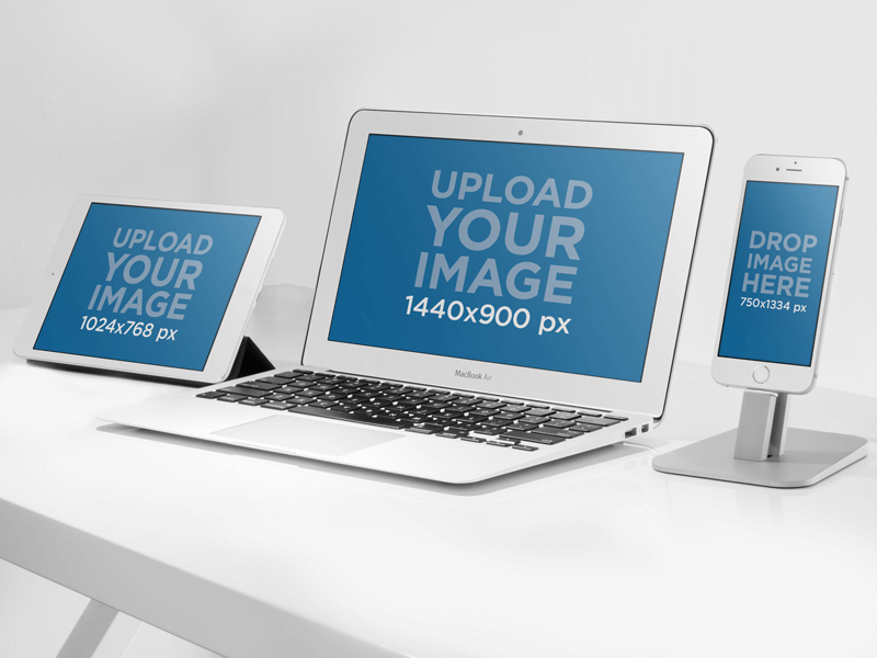 Ipad Macbook Air And Iphone 6 Mockup Template