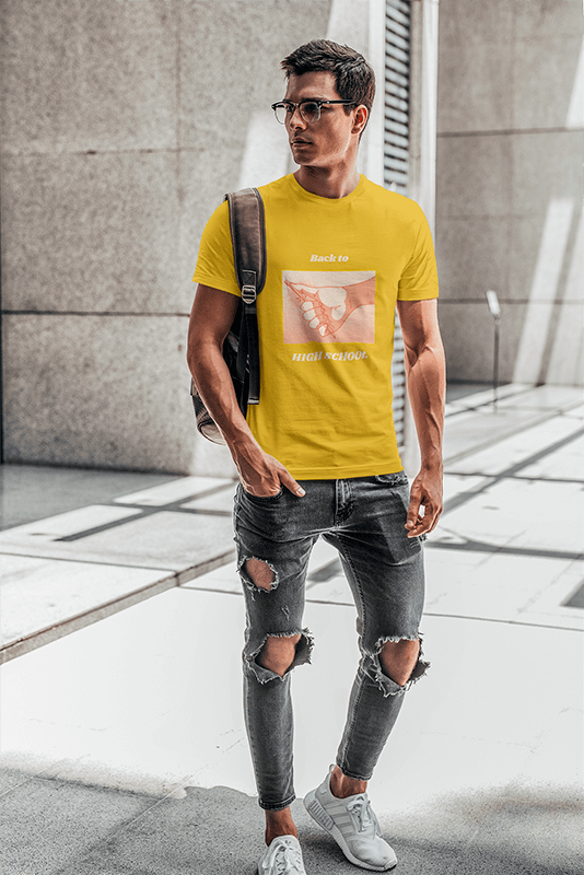 T Shirt Mockup Of A Man With Glasses Carrying A Backpack On His Shoulder 421 El