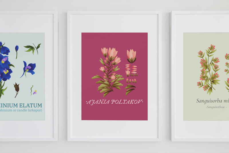Minimal Mockup Featuring Three Art Prints Hanging On A Wall