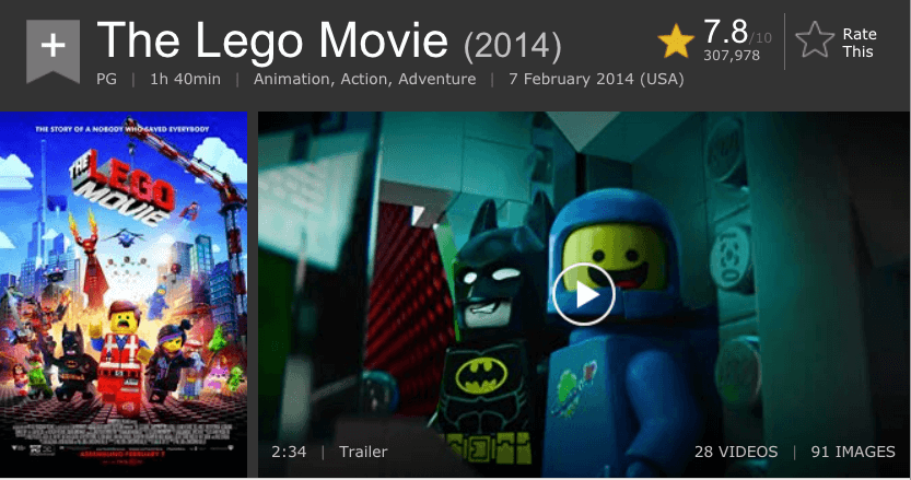 Lego Movie IMDB Page