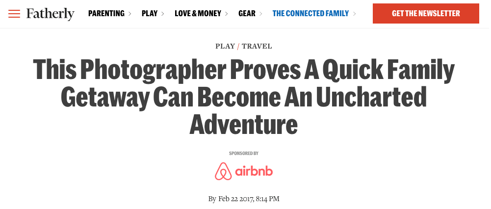 Fatherly article featuring AirBnB