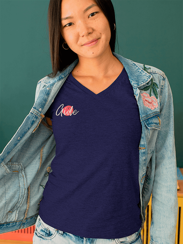 Heather T Shirt Mockup Of A Young Woman With A Denim Jacket