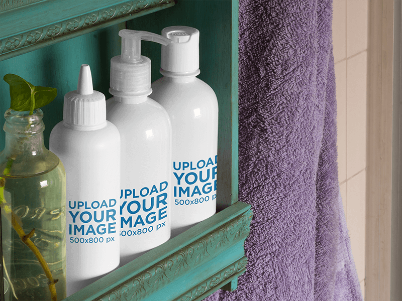 Label Mockup Featuring A Set Of Cosmetic Bottles On A Bathroom Shelf