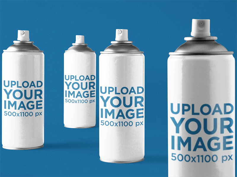 Label Mockup Featuring A Set Of Spray Paint Cans