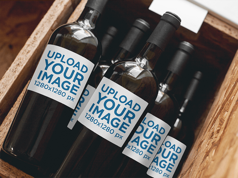 Label Mockup Of A Set Of Wine Bottles Stacked In A Wooden Container