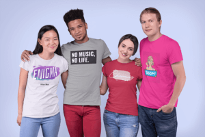 Mockup Of A Group Of Four Friends Wearing T Shirts