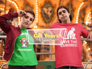 Young Couple Relaxing Near The Carousel While Wearing T Shirts Mockup A16439