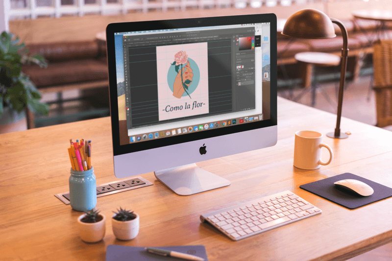 Mockup Featuring An Imac Set Up On A Beautiful Wooden Desk