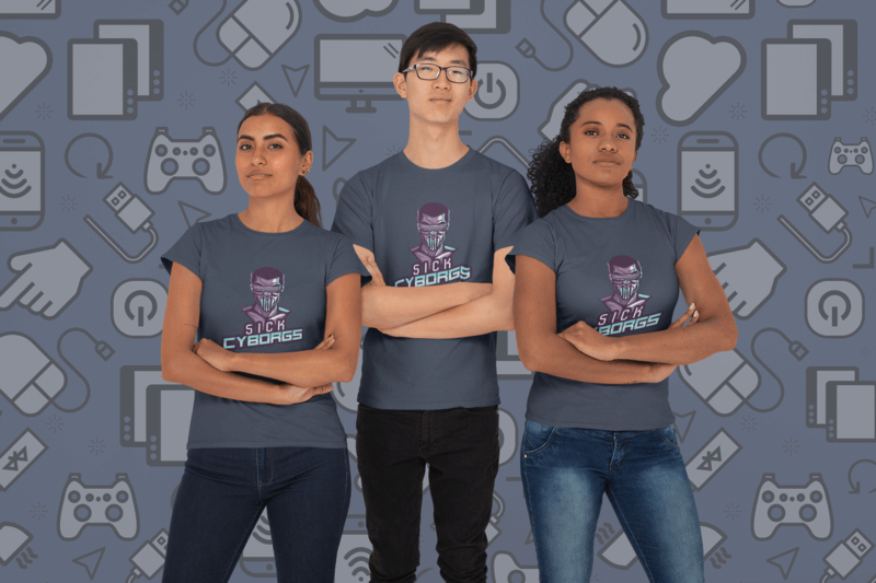 Mockup Of A Group Of Three Gamers Wearing T Shirts