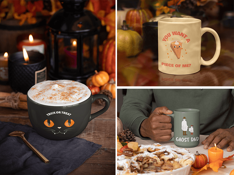 Mug Mockups In Fall Scenarios