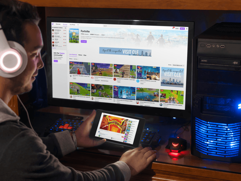 Tablet And Pc Mockup Featuring Gaming Channels