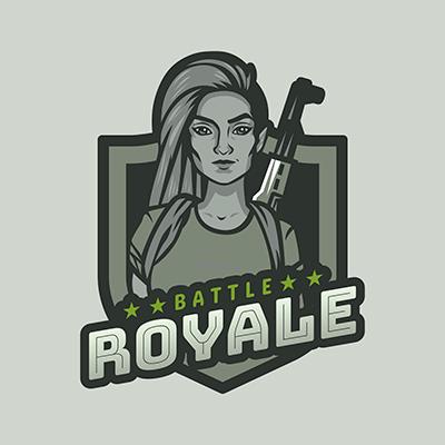 Battle Royale Game Logo Maker Of A Fierce Woman