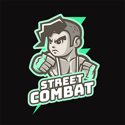 Gaming Logo Template Featuring A Street Combat Character