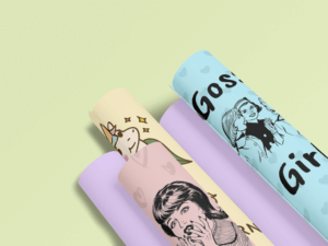 Mockup Of Five Rolled Up Wrapping Paper
