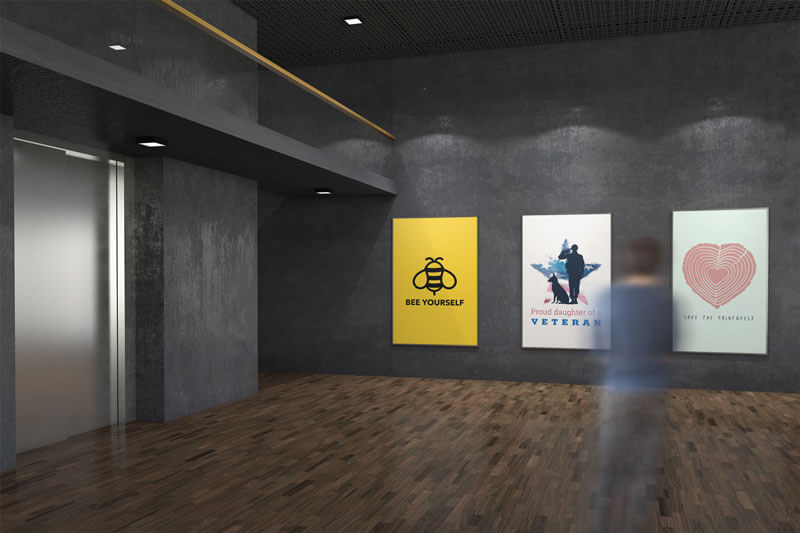 Mockup Of Three Exhibition Posters