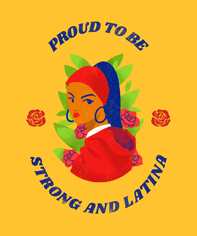 T Shirt Design Maker With Empowered Latina Women Graphics