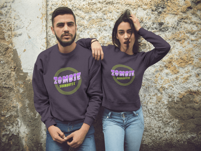 Beautiful Couple Wearing Crewneck Sweatshirts