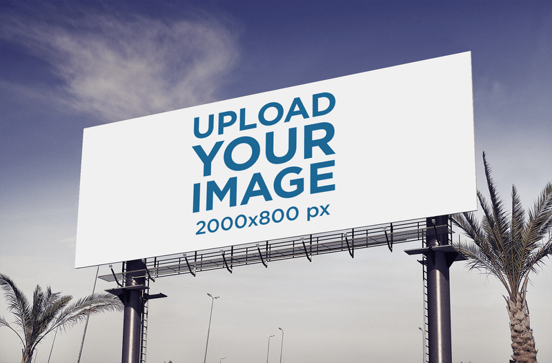 Billboard Mockup Featuring Some Palm Trees