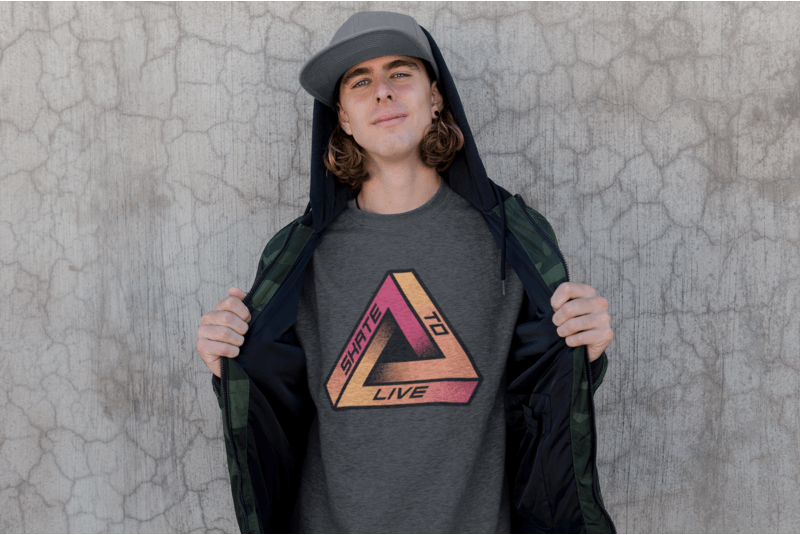 Crewneck Sweater Mockup Featuring A Skater Man Against A Wall
