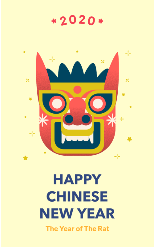 Chinese New Year Instagram Story Template Featuring A Traditional Mask