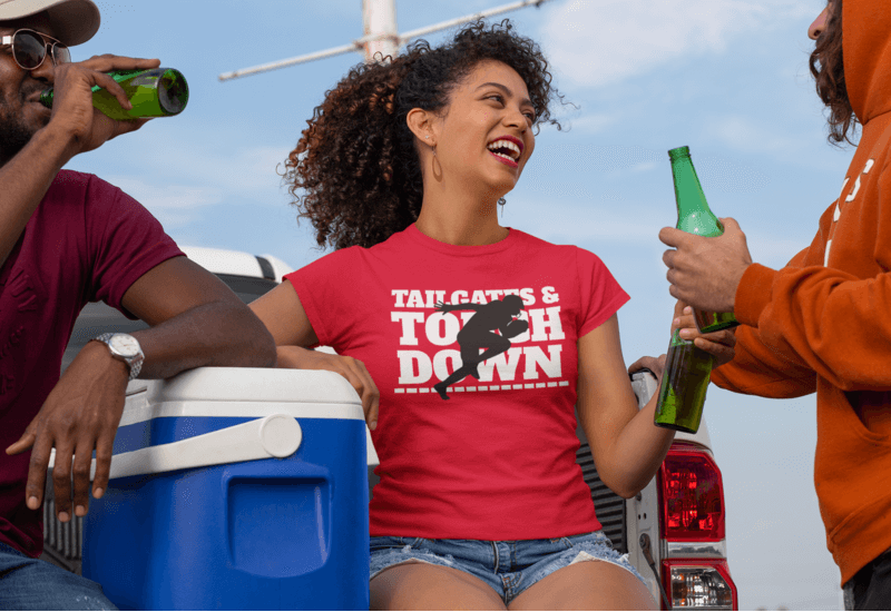 Mockup Of A Woman With A Crewneck T Shirt At A Tailgate Party