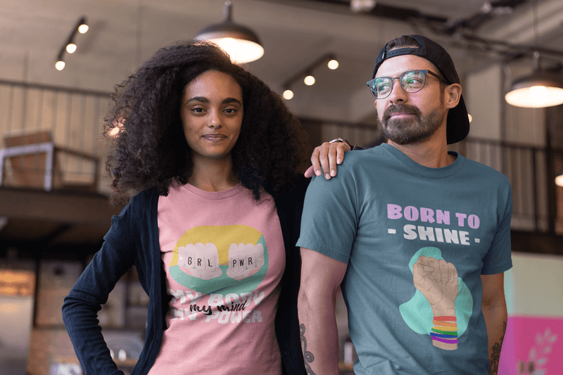 African American Girl With A Hipster Friend Wearing T Shirts Mockup At A Startup