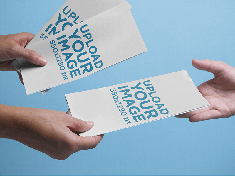Brochure Mockup Featuring A Person Handing Out Brochures