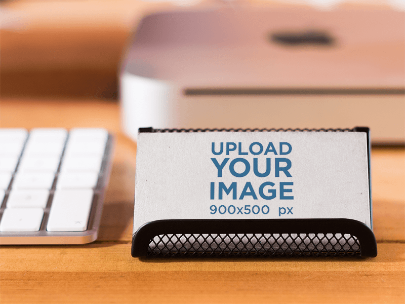 Business Card Mockup At A Creative Office Environment