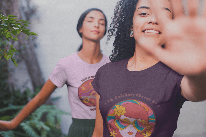 Interracial Girls Wearing Shirts Mockup Blocking The Camera Near Plants