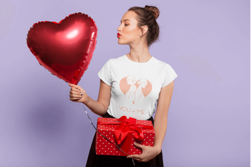 Lady With Heart Shaped Balloon Wearing A Valentines Day Tee