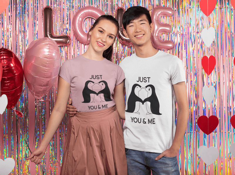 Mockup Of A Cute Couple Celebrating Valentines Day Together