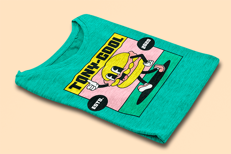 Mockup Of A Folded Heather T Shirt On A Colored Surface