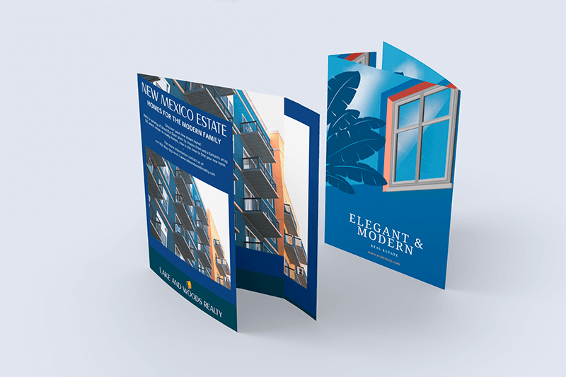 Mockup Of Two Wrap Around Brochures In A Plain Setting