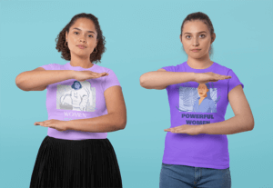 T Shirt Mockup Featuring Two Women Doing The Equality Sign With Their Arms