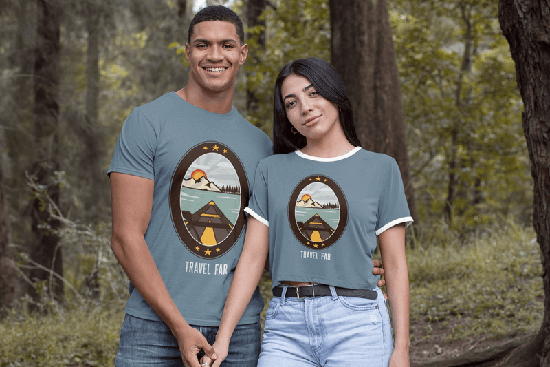 T Shirt Mockup Of A Couple Holding Hands In The Woods