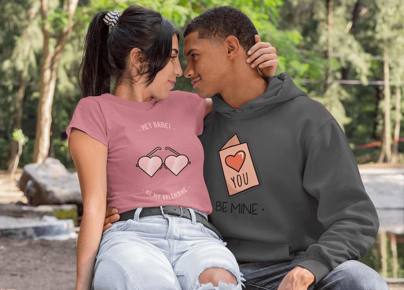 T Shirt Mockup Of A Woman Hugging Her Boyfriend Wearing A Hoodie