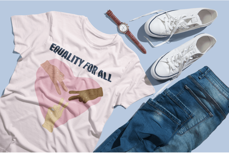 T Shirt Mockup Featuring Jeans And Sneakers