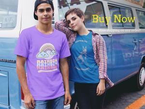 Couple Wearing Different Round Neck Tees Mockup Against A Blue Van