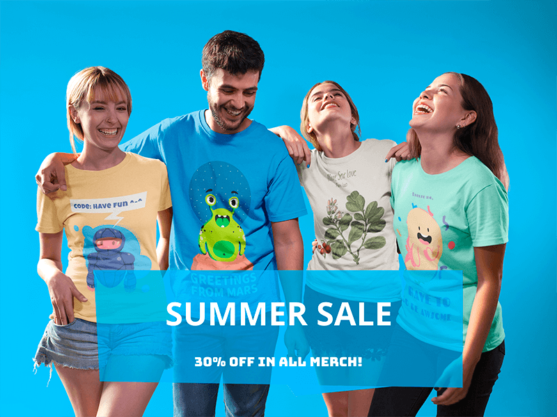 Facebook Ad Group Of Four Happy Friends Wearing Different Tshirts