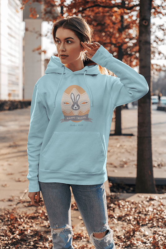 Pullover Hoodie Mockup Featuring A Woman By Some Dry Leaves