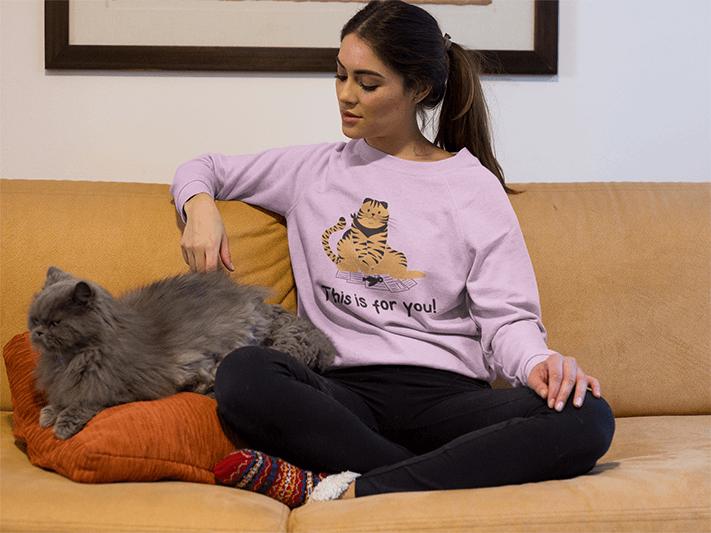 Beautiful Woman Wearing A Sweater Mockup With Her Grumpy Cat