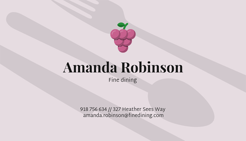 Business Card Template For A Catering Service With Food Illustrations