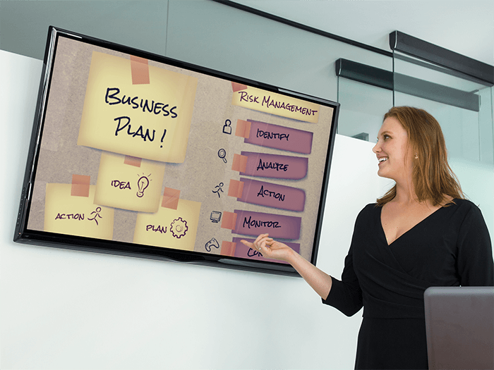 Business Woman With Lg Flat Screen Tv Mockup Template
